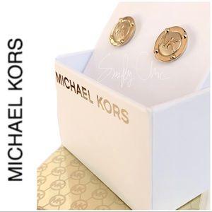 NWT authentic MK gold tone logo stud earrings